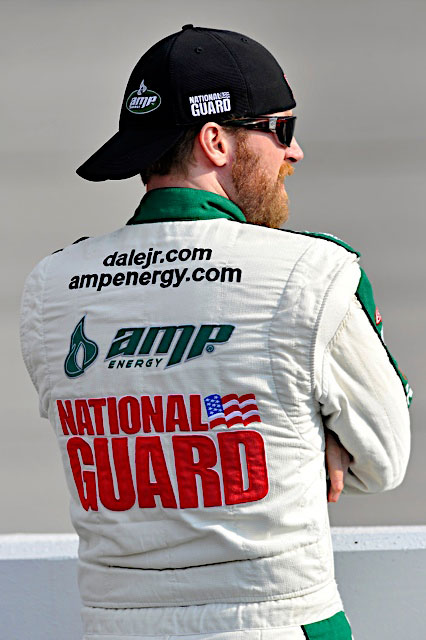 Dale Earnhardt Jr., driver of the No. 88 National Guard racecar, reflects on the race ahead of him at Darlington Raceway in Darlington, S.C. May 7, 2011. Jr. finished the race in 14th and is still in fourth place in the Sprint Cup series standings. (Photo courtesy of Hendrick Motor Sports)(Released)