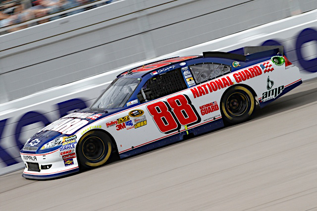 Dale Earnhardt Jr., driver of the No. 88 National Guard NASCAR racecar, speeds down the track at the Las Vegas Motor Speedway in Las Vegas, Nev., March 6, 2011. Dale Jr. finished the day with an eighth place finish, moving him into 10th place in the points race. (Photo courtesy of Hendrick Motor Sports)(Released)