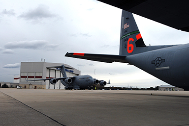 Guardsmen from Alaska, California, Nevada, and New York have mobilized aircraft and personnel to the North Carolina Air National Guard's 145th AW, awaiting reassignment in support of Hurricane Sandy.