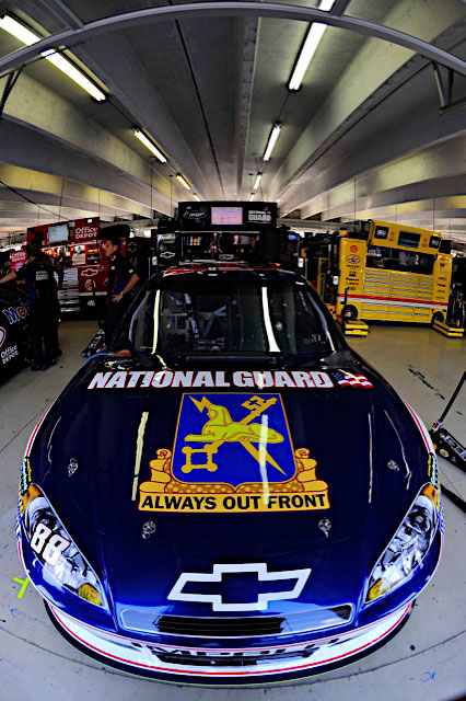 Dale Earnhardt Jr., driver of the No. 88 National Guard NASCAR racecar, ran with a National Guard Military Intelligence paint scheme during race events at Atlanta Motor Speedway in Hampton, Ga., Sept. 4, 2011. Earnhardt is poised to clinch a spot in the Sprint Cup championship standings with only one race left in regular season. (Photo courtesy of Hendrick Motor Sports)(Released)