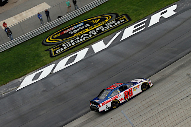 Dale Earnhardt Jr., driver of the No. 88 National Guard racecar, races at the Dover International Speedway in Dover, Del. To a 24th place finish, Oct. 2, 2011. (Photo courtesy of Hendrick Motor Sports)(Released)