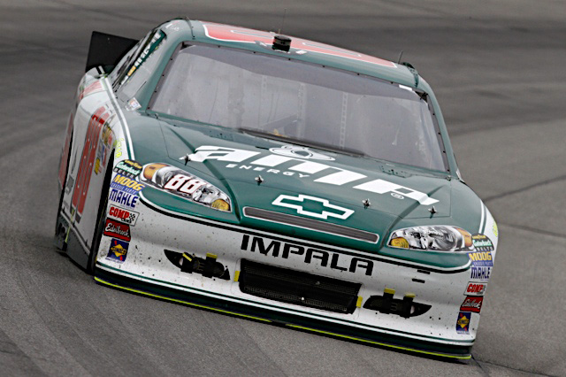 Dale Earnhardt Jr., driver of the No. 88 National Guard NASCAR racecar, speeds down the track at the Pocono Raceway in Long Pond, Pa., Aug. 7, 2011. Earnhardt finished ninth and was able to maintain his tenth place position in the points race after Sunday's race. (Photo courtesy of Hendrick Motor Sports)
