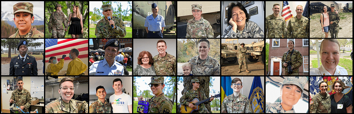Mosaic graphic of LGBTQ+ Soldiers and Airmen