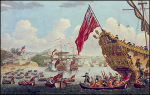 A View of the Landing (of) the New England Forces in yee Expedition against Cape Breton, 1745
