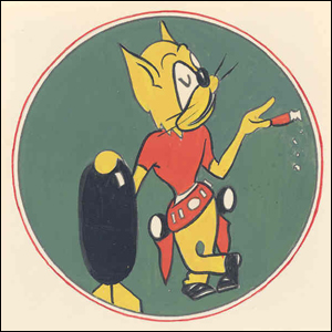 Emblem of the 840th Bombardment Squadron as approved by the Army January 12, 1944. It was retained by the 128th Fighter Squadron for use on its aircraft after the war.
