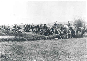 Members of the 13th Minnesota Volunteer Infantry waiting to go home, taken near Caloocan, Luzon, Philippines in April 1899.