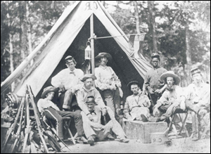 Relaxing in camp are soldiers of the 'Clinch Rifles,'