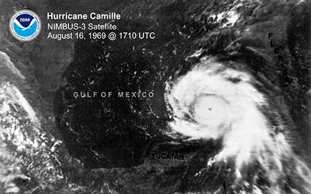 Hurricane Camille Satellite image, August 16, 1969