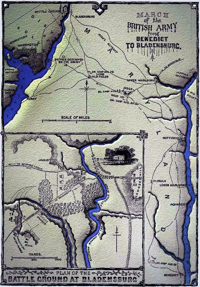 Drawing of the British march from the coastal town of Benedict, Maryland to Bladensburg, including the battleground map inset.  The inset map shows the American defensive positions on the west side of the Eastern Branch of the Potomac River, now known as the Anacostia River.