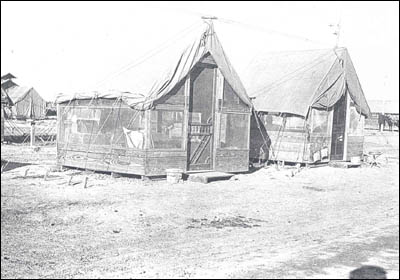 The type of tents used by National Guard units serving along the border with Mexico