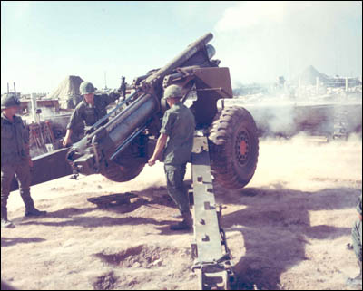 A 155mm howitzer of Battery B