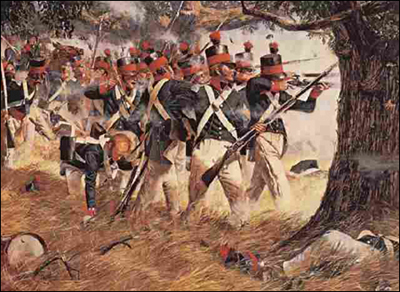 Soldiers of the 5th Maryland Regiment fighting in the Battle of North Point
