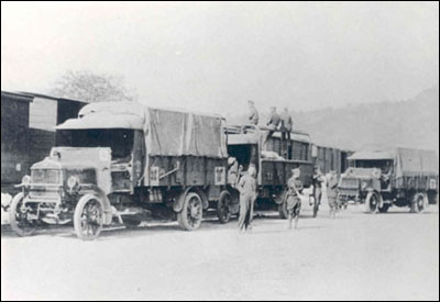 Supply trucks of the 26th Division