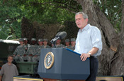 President George Bush talks about Operation Jump Start at Anzalduas County Park in Mission, Texas, on Aug. 3, 2006. National Guard Soldiers participating in the operation attended the address. (Photo by Sgt. Jim Greenhill, National Guard Bureau)